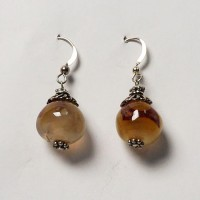 Exotic Tibetan Carnelian Bead Silver Dangling Earrings