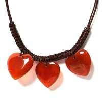 Red Amber Jade Heart Pendant Necklace