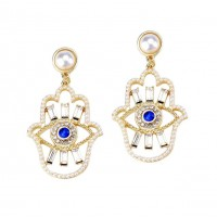 Romantic Pearly Hamsa Hand Evil Eye Dangle Earrings