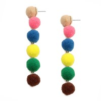 Whimsical 6-Tiers Multi Color Pom Pom Earrings