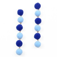Whimsical 6-Tiers Multi Blue Pom Pom Earrings