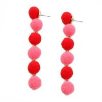 Whimsical 6-Tiers Multi Red Pom Pom Earrings