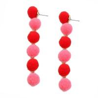 Whimsical 6-Tiers Multi Red Pom Pom Earrings