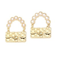 PRECIOUS PEARLY HANDLE GOLD QUILTED HANDBAG STATEMENT EARRINGS