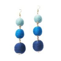 VINTAGE 3-TIERS MULTI BLUE DISCO BALL DROP EARRINGS