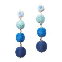 VINTAGE  4 -TIERS MULTI BLUE DISCO BALL DROP EARRINGS