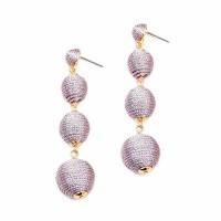 Lilac Gray 4 -Tiers Silky Sheen Disco Ball Drop Earrings