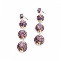 4 -TIERS PURPLE SILKY SHEEN DISCO BALL DROP EARRINGS