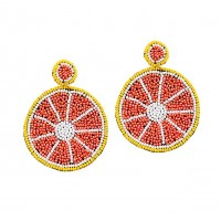 Delicious Embroidery Beaded Grapefruit Statement Earrings