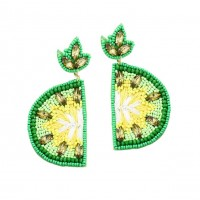 Whimsical Embroidery Beaded Lime Statement Earrings