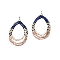 Dazzling Blue Metallic Beads Tear Drop Hoop Statement Earrings