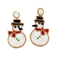Holiday Snowman With Black Hat Red Scarf Beaded Dangle Earrings