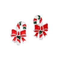 Red Enamel Christmas Candy Cane Stud Earrings