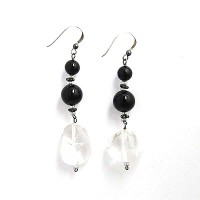 Black Onyx Giant Crystal Nugget Earrings