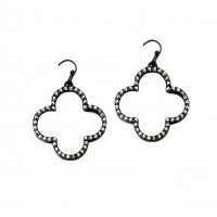 Black Crystal Quatrefoil Clover Statement Earrings