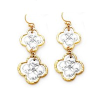 Stunning Double Clover Gold Dangle Earrings