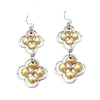 Stunning Double Clover Silver Dangle Earrings