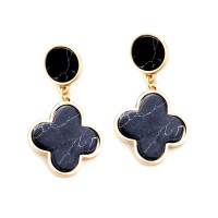 Chic Black Quatrefoil Clover Dangle Earrings