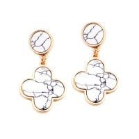 Soft White Quatrefoil Clover Dangle Earrings