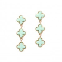Mint Trio Quatrefoil Clover Dangle Earrings
