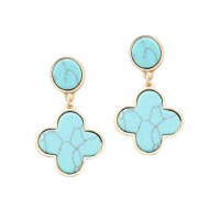 Turquoise Blue Quatrefoil Clover Dangle Earrings
