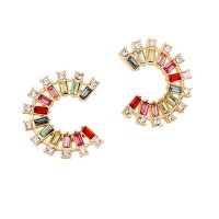 Dazzling Multi Color C Shaped Hoop Earrings