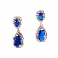 Shimmering Blue Cubic Zirconia Tear Drop Statement Earrings