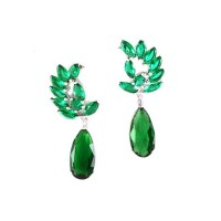 Dazzling Green Cubic Zirconia Drop Statement Earrings