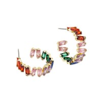 Dazzling Multi Color Cubic Zirconia Hoop Earrings