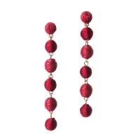 6 TIERS BURGUNDY SILKY SHEEN DISCO BALL EARRINGS