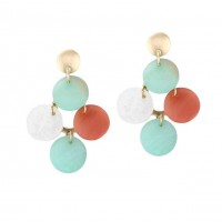 Tri Color Geometric Round Link Dangle Earrings