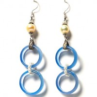 Exotic Tibetan Agate Double Ring Earring With Pearl In Lapis Blue
