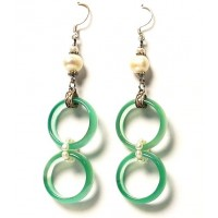 Tibetan Double Ring Earring With Pearl In Apple Green