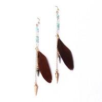 Aquamarine Crystal Duster Feather Earrings