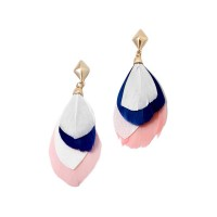 Pink Blue Feather Gold Drop Statement Earrings