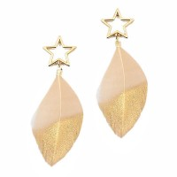 Tan Gold Star Drop Statement Feather Earrings