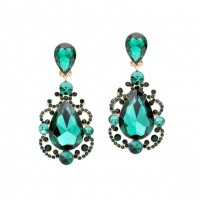 Sparkling Jumbo Green Teardrop Crystal Statement Earrings