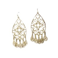 Romantic Rose Gold Filigree Chandelier Drop Statement Earrings