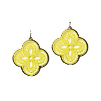 Stunning Yellow Filigree Quatrefoil Clover Dangle Earrings