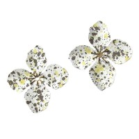 ROMANTIC AND DAZZLING JUMBO WHITE GOLD FLORAL STATEMENT EARRINGS