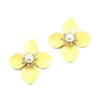 Romantic Jumbo Yellow Flora-Stud Pearly Statement Earrings