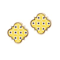 Gorgeous Moroccan Yellow Pattern Wood Quatrefoil Stud Earrings
