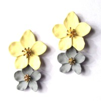 Gorgeous Yellow Gray Flora Statement Earrings