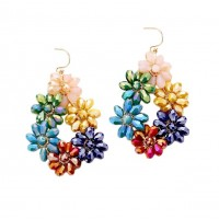 Dazzling Multi Color Floral Cluster Dangle Statement Earrings