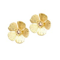 LUSTROUS GOLD HAMMERED FLORAL STATEMENT EARRINGS