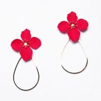 Lovely Red Jumbo Flora Tear Drop Hoop Statement Earrings