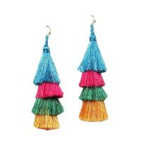4 Tier Multi Color Fringe Statement Earrings