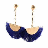 Blue Fan Shape Fringe Statement Drop Earrings