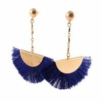 Blue Fan Shape Fringe Statement Drop Earrings