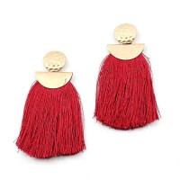 STUNNING THREAD FRINGE HAMMERED ROUND DROP EARRINGS